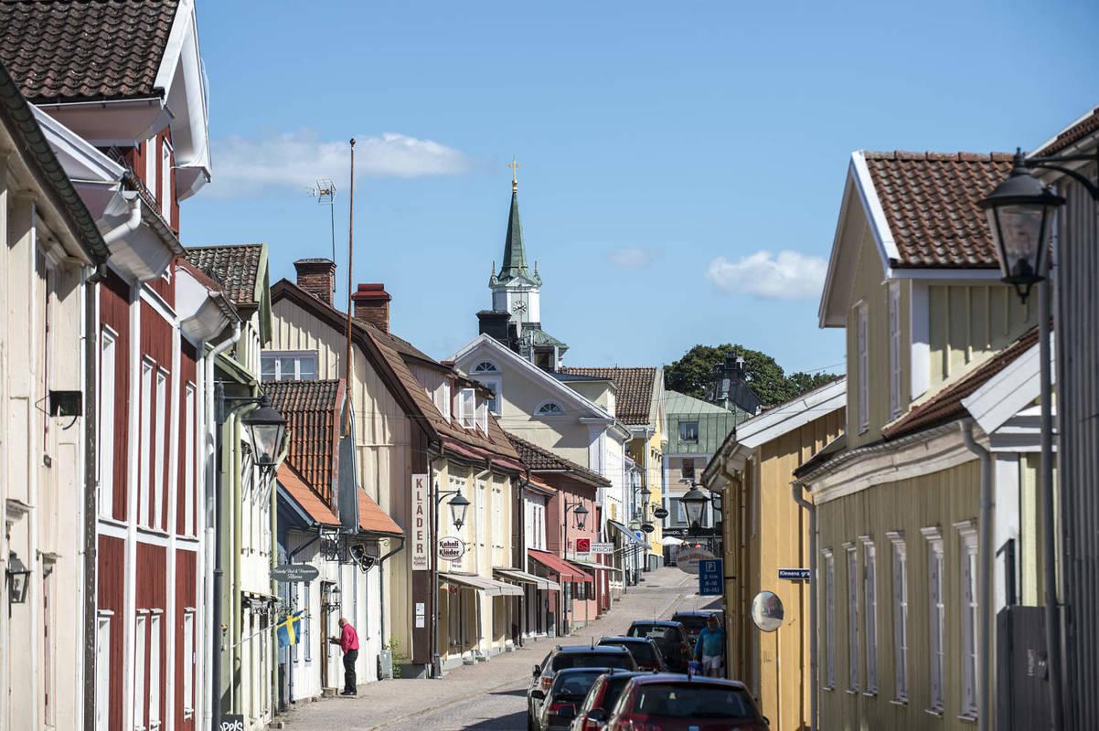 Vimmerby storgata med gamla trähus