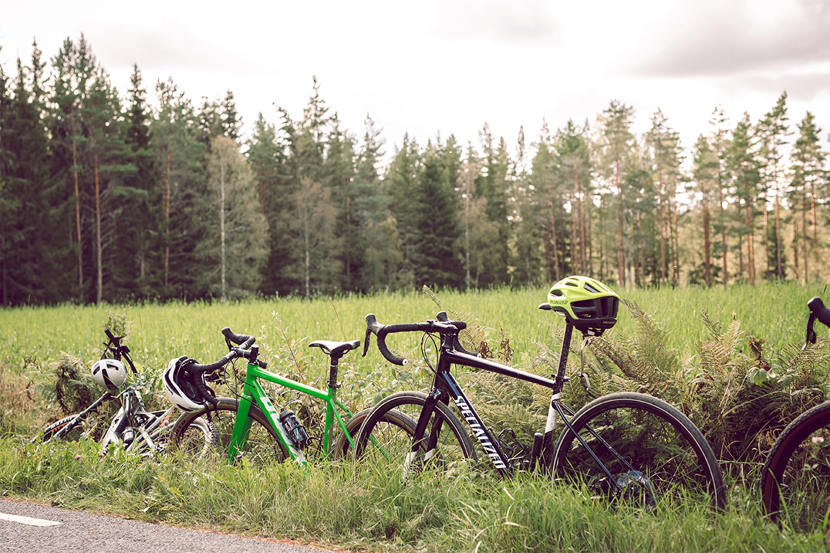 bikes in the grass