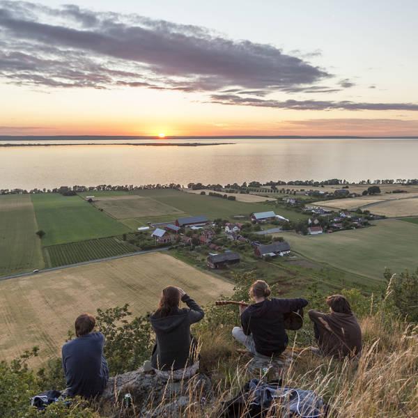 Blick vom Grännaberget auf den Vättern und die Insel Visingsö