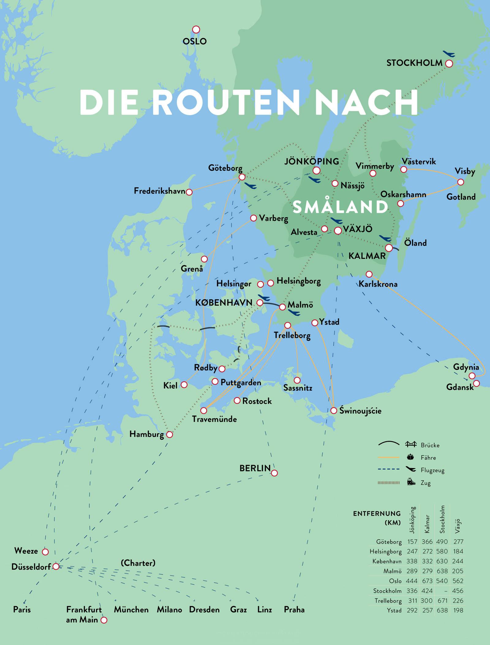 Reisewege für die Anreise nach Småland