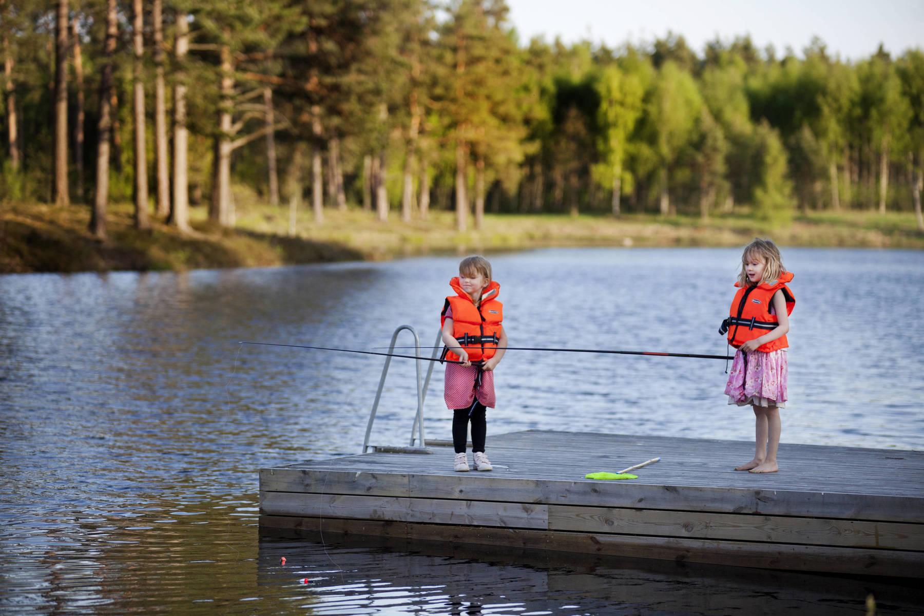 Barn fiskar i Småland