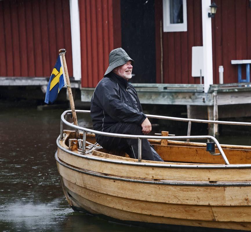 Man i fiskebåt Västervik