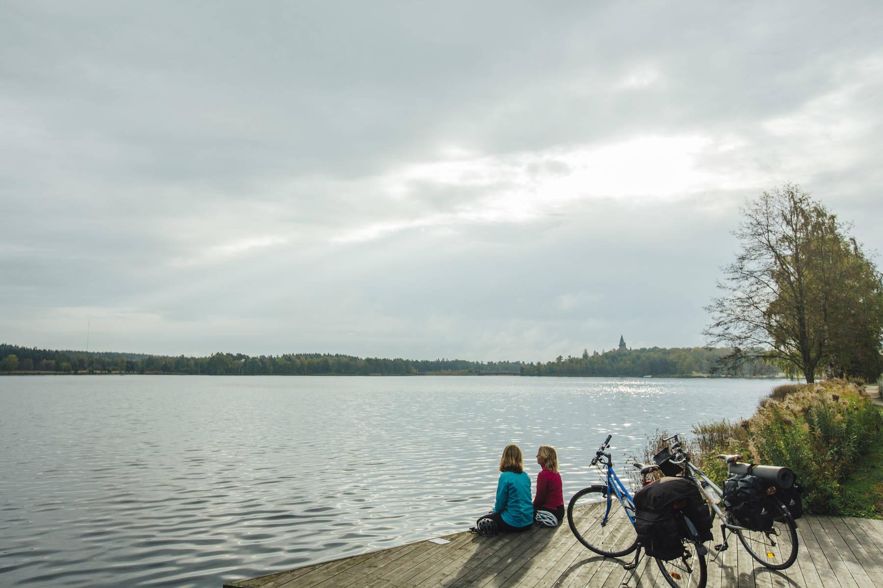 Vy över sjön Trummen i Växjö